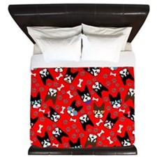 cute boston terrier dog King Duvet