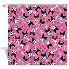 cute boston terrier dog Shower Curtain