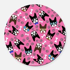 cute boston terrier dog Round Car Magnet
