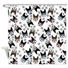 cute boston terrier dog Shower Curtain