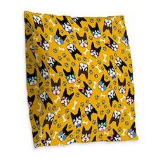 cute boston terrier dog Burlap Throw Pillow