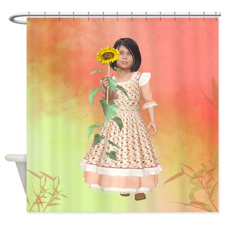 Vintage Girl Shower Curtain by fairytaleworld