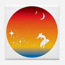 Fox dancing in the sky Tile Coaster