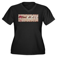 Vintage Corn Women's Plus Size V-Neck Dark T-Shirt
