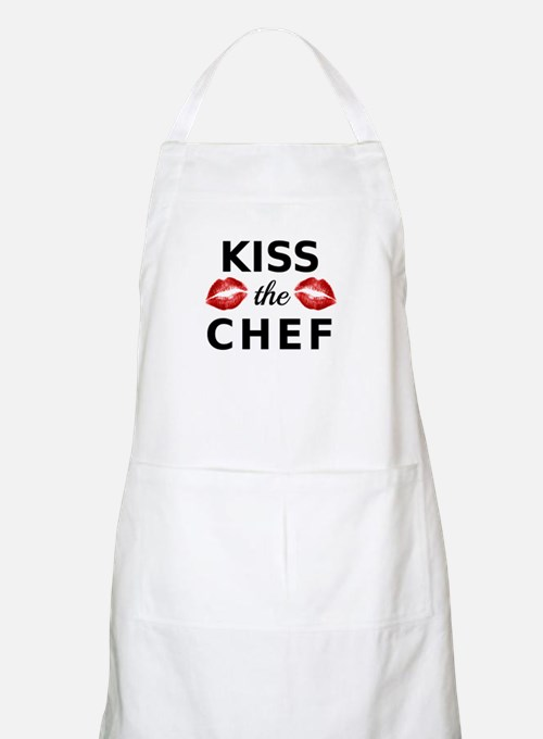 kiss the chef with red lips Apron