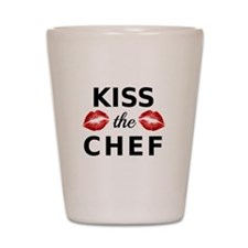 kiss the chef with red lips Shot Glass