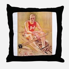 Vintage Rowing Portrait Throw Pillow