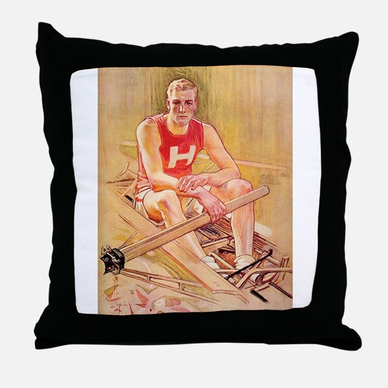 Vintage Rowing Portrait Throw Pillow