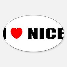 I Love Nice, France Oval Decal