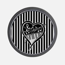 Stylish Black and white musical heart Wall Clock