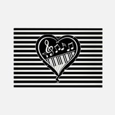 musical heart with piano keys and music notes Magn