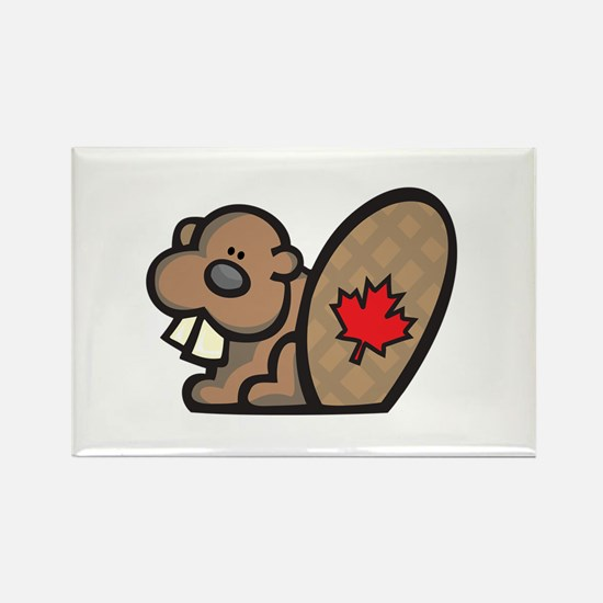 Cute Canadian Beaver Rectangle Magnet