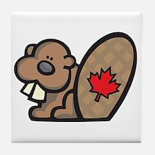 Cute Canadian Beaver Tile Coaster