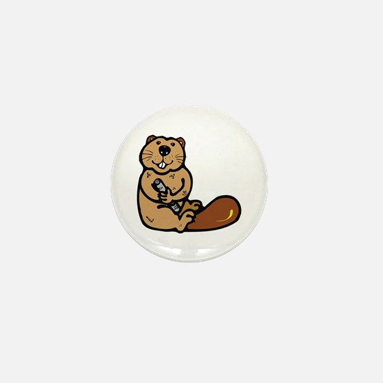 Country Style Beaver Mini Button