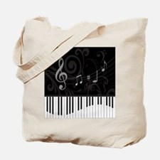 Whimsical Piano and musical notes Tote Bag