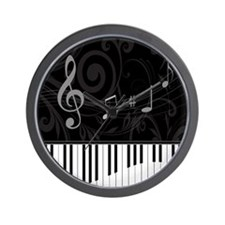 Whimsical Piano and musical notes Wall Clock