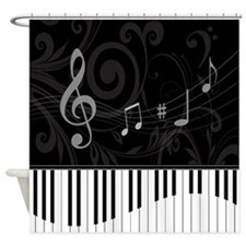 Whimsical Piano and musical notes Shower Curtain