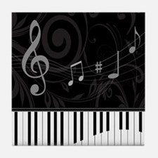 Whimsical Piano and musical notes Tile Coaster