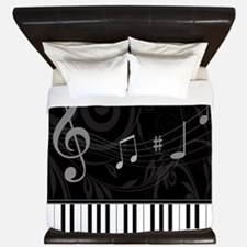Whimsical Piano and musical notes King Duvet