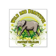 Wild Elephant Oval Sticker