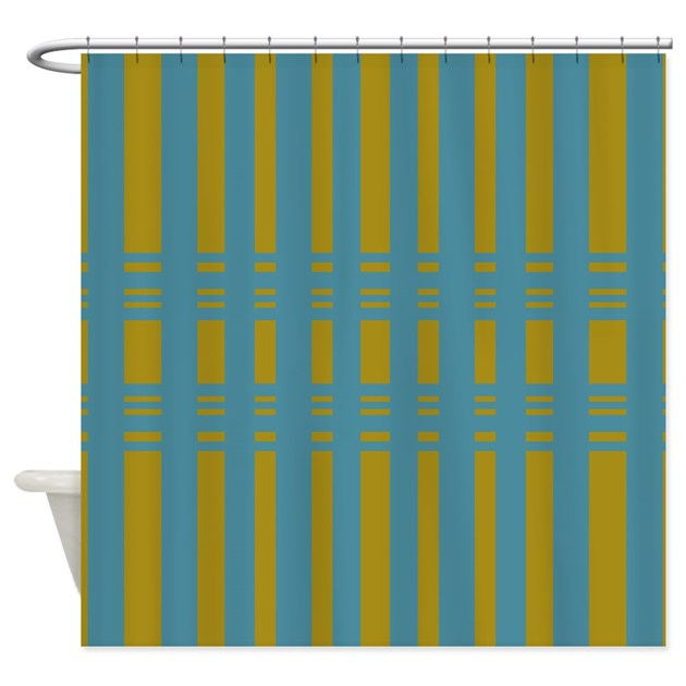 Yellow Turquoise Striped Design Shower Curtain By