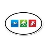Triathlon Oval Car Magnets