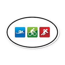 Cute Swim bike run Oval Car Magnet