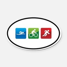 Cute Triathlon Oval Car Magnet