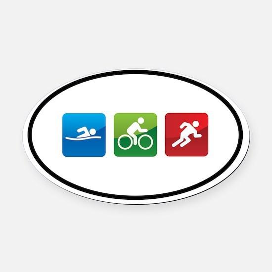 Cute Triathlon Oval Car Magnet