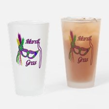 Mardi Gras Beads Mask Drinking Glass
