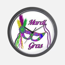 Mardi Gras Beads Mask Wall Clock