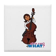 String Bass Player - Dark Tile Coaster