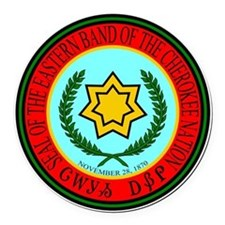 Eastern Band Of The Cherokee Seal Round Car Magnet
