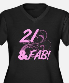 21 And Fabul Women's Plus Size V-Neck Dark T-Shirt