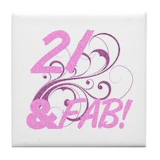 21 And Fabulous (Glitter) Tile Coaster