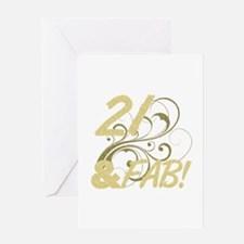 21 And Fabulous (Glitter) Greeting Card