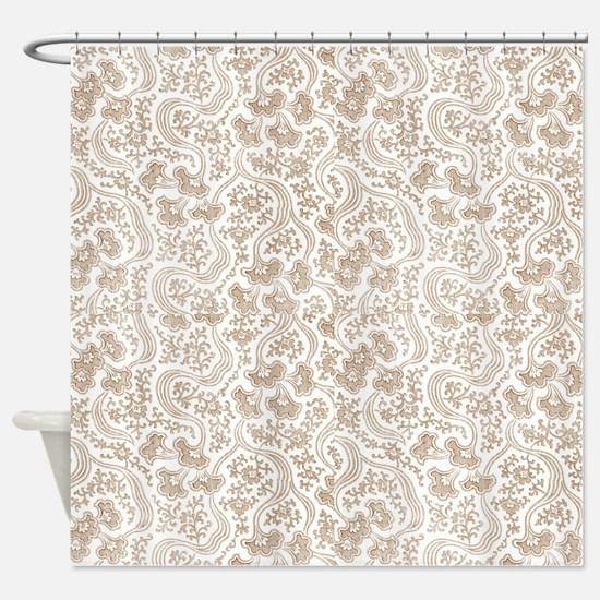 Tan Vintage Floral Shower Curtain