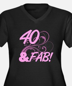 40 And Fabul Women's Plus Size V-Neck Dark T-Shirt