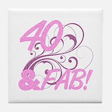 40 And Fabulous (Glitter) Tile Coaster