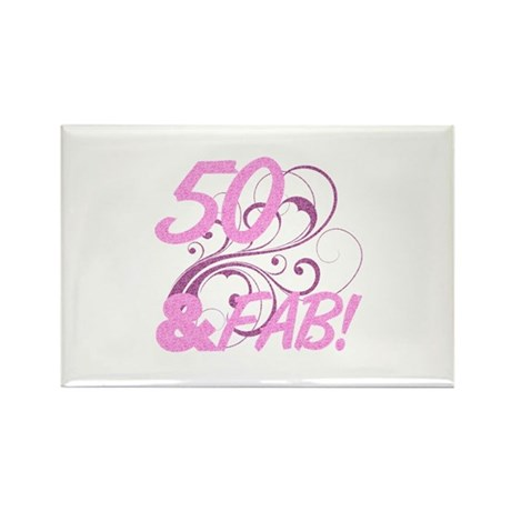 50 And Fabulous (Glitter) Rectangle Magnet
