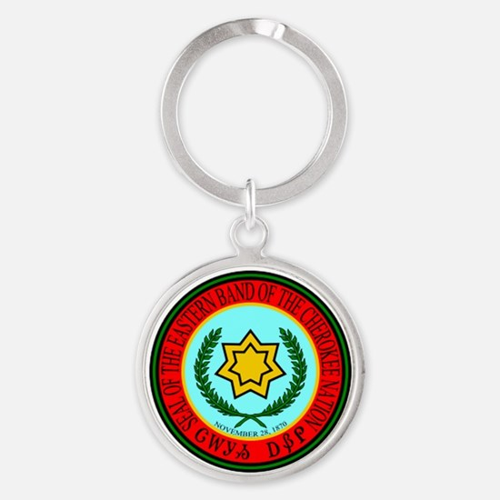 Eastern Band Of The Cherokee Seal Round Keychain
