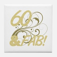 60 And Fabulous (Glitter) Tile Coaster