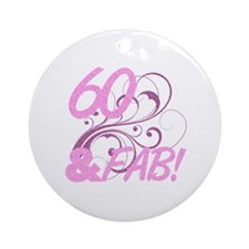 60 And Fabulous (Glitter) Ornament (Round)