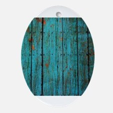 Teal nailed wood fence texture Ornament (Oval)