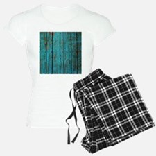 Teal nailed wood fence texture Pajamas