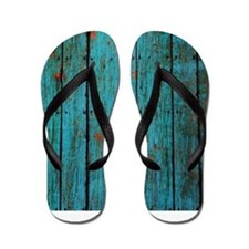 Teal nailed wood fence texture Flip Flops