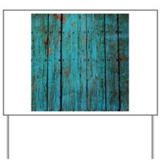 Teal nailed wood fence texture Yard Sign