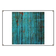 Teal nailed wood fence texture Banner