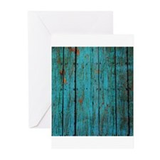 Teal nailed wood fence texture Greeting Cards