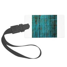 Teal nailed wood fence texture Luggage Tag